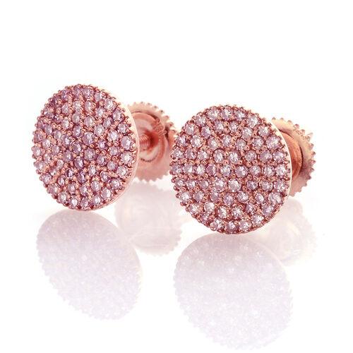 ILIANA 18K Rose Gold Very Rare Natural Pink Diamond (Rnd) Earrings (with Screw Back) 0.500 Ct., No of Diamonds 122pcs