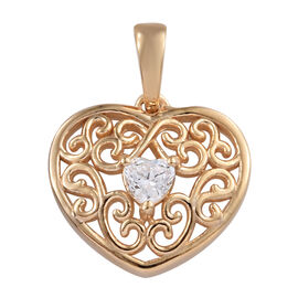 J Francis Made with Swarovski Zirconia Heart Pendant in Gold Plated Sterling Silver