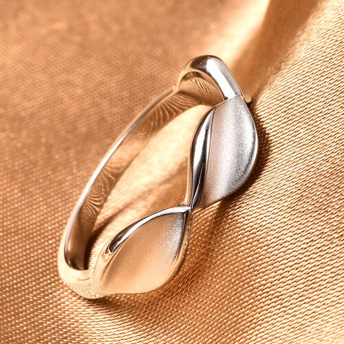 RACHEL GALLEY Rhodium Overlay Sterling Silver Sandblast Texture Leaf Design Band Ring