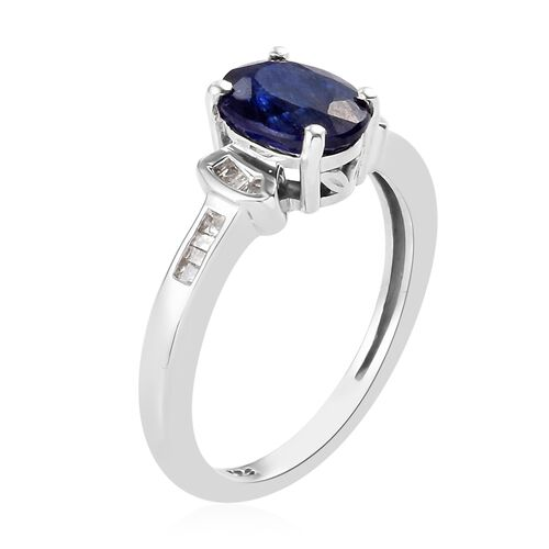 Masoala Sapphire and Diamond Ring in Platinum Overlay Sterling Silver 1.75 Ct.