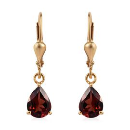 Mozambique Garnet (Pear) Lever Back Earrings in 14K Gold Overlay Sterling Silver 2.50 Ct.