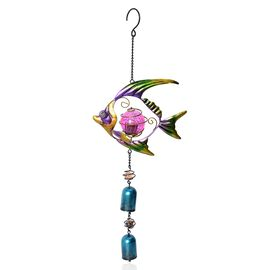 Home Decor - Solar Energy Powered Yellow Fish Hanging Windchime (Size 49.5x19.5 Cm)