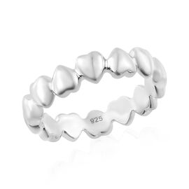WEBEX- Platinum Overlay Sterling Silver Heart Shape Ring