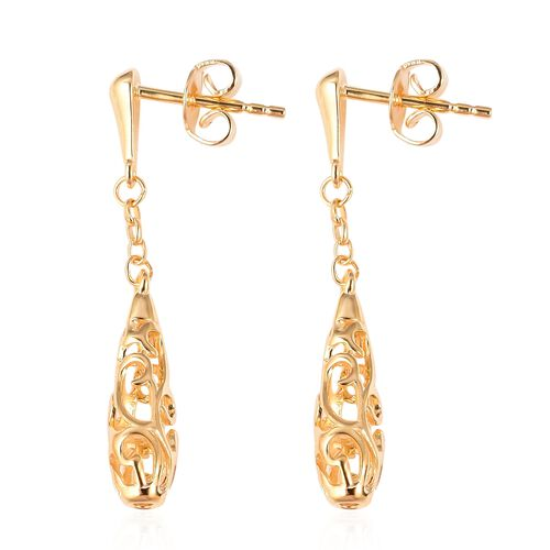 LucyQ Yellow Gold Overlay Sterling Silver Air Drip Earrings (with Push Back)