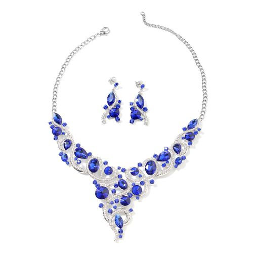 2 Piece Set Blue and White Crystal Choker Necklace and Drop Earring 20 Inch