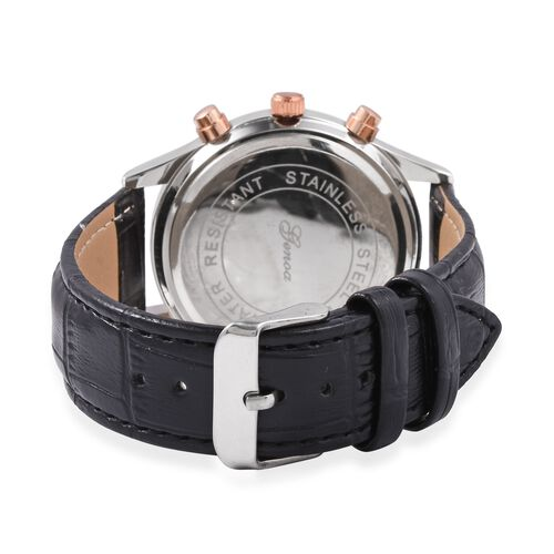GENOA Multi Function Quartz Movement White Crystal Studded Water Resistant Watch with Black Strap