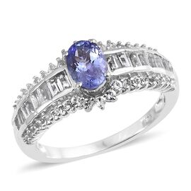 2.25 Ct Tanzanite and White Topaz Solitaire Design Ring in Platinum Plated Silver