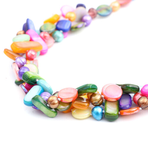 Multi Colour Freshwater Pearl, Multi Colour Shell and Purple Beads Multi Row Necklace (Size 20)