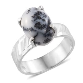 Norseman Dendritic Opal (Ovl) Solitaire Ring in Rhodium Plated Sterling Silver 6.100 Ct. Silver wt. 4.66 Gms.