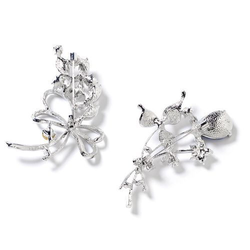 2 Piece Set Simulated Blue Sapphire (Pear), White Austrian Crystal and Simulated Diamond Flower Bouquet Brooch in Silver Tone