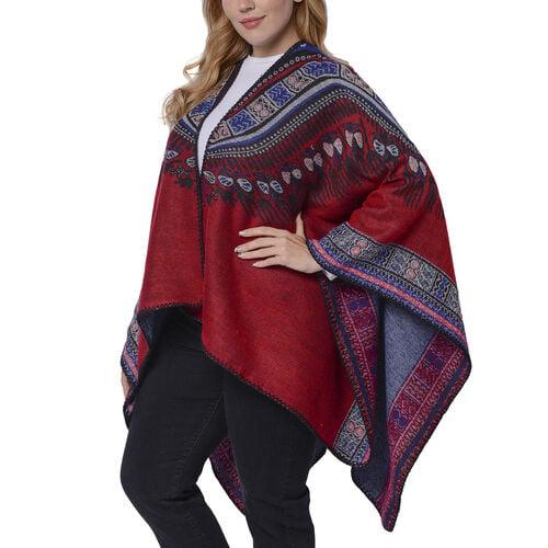 Designer Inspired- Red Colour National Style Pattern Kimono (Size 132x72 Cm)