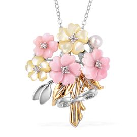 Jardin Collection - Pink and Yellow Mother of Pearl,Freshwater Pearl and Natural White Cambodian Zir