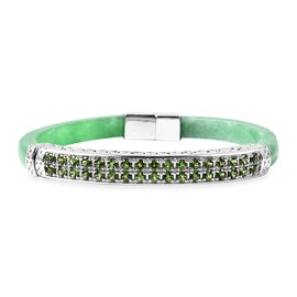 87 Ct Green Jade and Russian Diopside Hand Craved Bangle in Rhodium Plated Silver 16 Grams 7.5 Inch