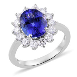 RHAPSODY 4 Carat AAAA Tanzanite and Diamond Halo Ring in 950 Platinum 6 Grams