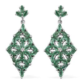 AA Kagem Zambian Emerald (Mrq), Natural Cambodian Zircon Flower Dangle Earrings (with Push Back) in Platinum Overlay Sterling Silver 3.500 Ct. Silver wt 5.91 Gms.