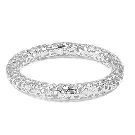 RACHEL GALLEY Rhodium Overlay Lattice Bangle (Size 7.5) in Rhodium Overlay Sterling Silver