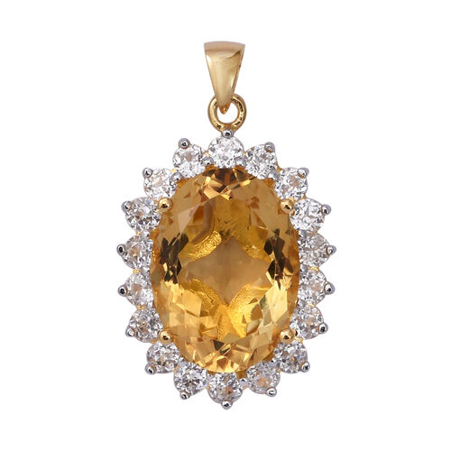 Extremely Rare Size Citrine (Ovl 18x13 mm, 10.00 ct), Natural Cambodian Zircon Pendant in 14K Gold O