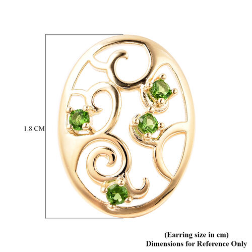 LucyQ Victorian Era Collection - Russian Diopside Filigree Stud Earrings (with Push Back) in Yellow Gold Overlay Sterling Silver