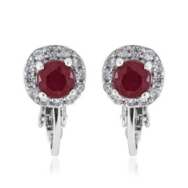 Designer Inspired - African Ruby (Rnd), Natural Cambodian Zircon Earrings (with Clip Lock) in Platinum Overlay Sterling Silver 2.250 Ct.
