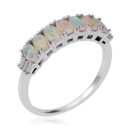 Ethiopian Welo Opal (Ovl), Diamond Ring in Rhodium Overlay Sterling Silver 1.000 Ct.