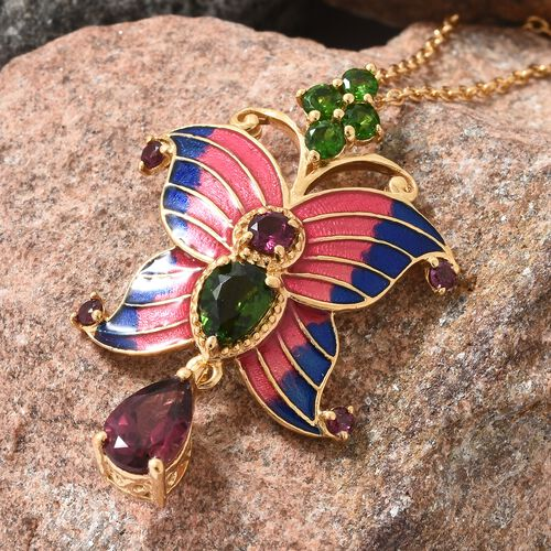 GP Rhodolite Garnet (Pear), Russian Diopside and Kanchanaburi Blue Sapphire Pink and Blue Colour Enameled Butterfly Pendant with Chain in 14K Gold Overlay Sterling Silver 3.500 Ct. Silver wt 5.82 Gms.