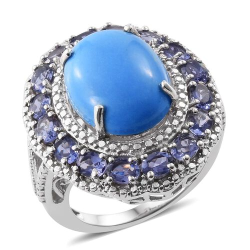 Ceruleite (Ovl 6.50 Ct), Iolite Ring in Platinum Overlay Sterling Silver 8.500 Ct.