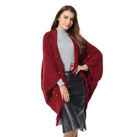 Wine Red Colour Soft and Warm Kimono with Tassels (Free Size)