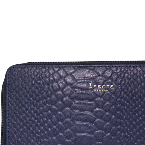 Assots London HAZEL Python Embossed Genuine Leather RFID Zip Around Purse (Size 20x2x10 Cm) - Navy