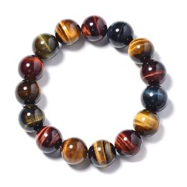 Tigers Eye (Rnd 14mm) Beads Stretchable Bracelet (Size 7) 321.000 Ct
