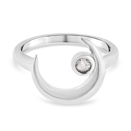 LucyQ Crescent Collection - Natural Cambodian Zircon Crescent Moon Ring in Rhodium Overlay Sterling