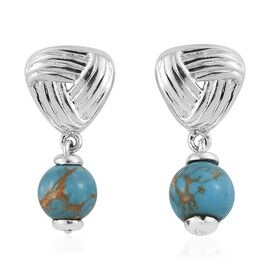 One Time Deal - Mojave Blue Turquoise Knot Earrings (with Push Back) in Platinum Overlay Sterling Silver 3.500 Ct.