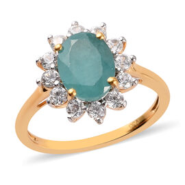 Grandidierite and Natural Cambodian Zircon Halo Ring in 14K Gold Overlay Sterling Silver 2.70 Ct.