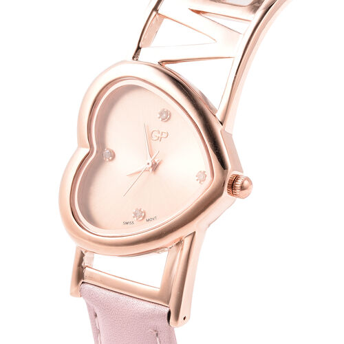 GP Diamond and Blue Sapphire Studded Swiss Movement Water Resistant Watch in Rose Gold Overlay Sterling Silver with Genuine Leather Strap - Pink - Silver wt. 20 Gms
