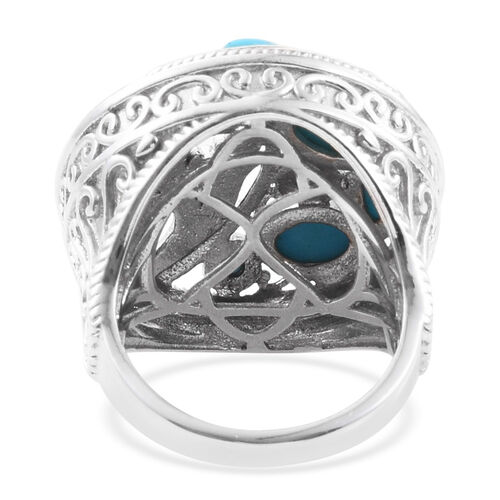 Arizona Sleeping Beauty Turquoise (Rnd) Ring in Platinum Overlay Sterling Silver 2.500 Ct. Silver wt 11.37 Gms.