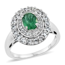 1.75 Ct AAA Premium Santa Terezinha Emerald and Cambodian Zircon Halo Ring in Platinum Plated Silver