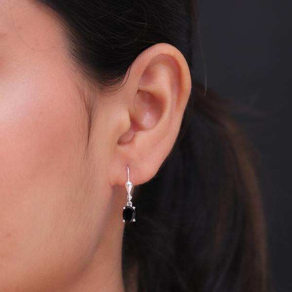 MP Black Tourmaline (Ovl) Lever Back Earrings in Sterling Silver 1.59 Ct.