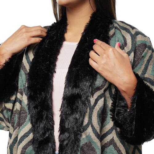 Sage Ogee Pattern Cozy Jacquard Jacket with Faux Fur Trim and Long Sleeve (Size XL/XXL, 18-22) - Teal Green and Black