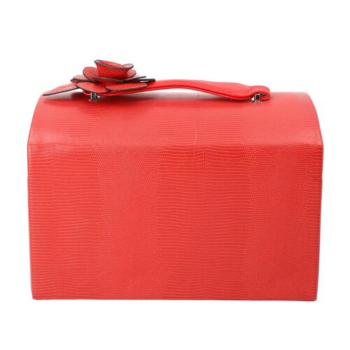 Grace Collection - Three Layer Lizard Skin Pattern Anti-Tarnish Jewellery Box with 3D Flower Handle, Coded Lock & Velvet Lining (Size 30x20x19cm) - Red