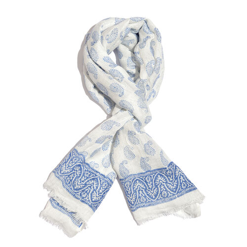 Blue Colour Handblock Paisley Printed White Colour Scarf (Size 180x70 Cm)