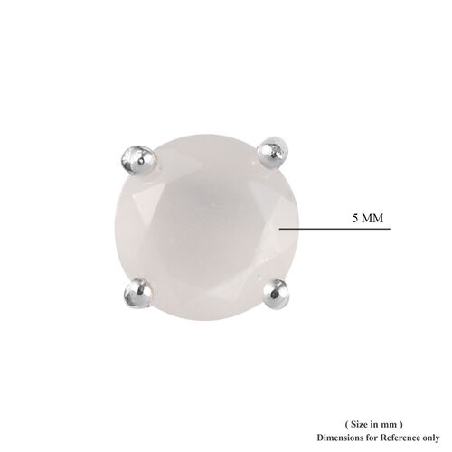 Sri Lankan White Moonstone Stud Earrings (with Push Back) in Platinum Overlay Sterling Silver 1.00 Ct.