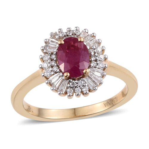 ILIANA 1.35 Ct AAA Pigeon Blood Burmese Ruby Halo Ring Diamond in 18K Yellow Gold 4.54 Grams SI GH