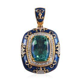 GP Peacock Quartz (Cush 16x12 mm), Natural Cambodian Zircon and Blue Sapphire Enamelled Pendant in P