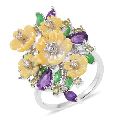 JARDIN COLLECTION - Yellow Mother of Pearl, Amethyst, Hebei Peridot and Natural White Cambodian Zircon Enameled Floral Ring in Rhodium Overlay Sterling Silver, Silver wt 6.30 Gms