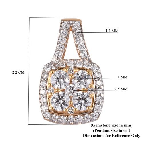 J Francis 14K Gold Overlay Sterling Silver Pendant Made with SWAROVSKI ZIRCONIA 3.00 Ct.