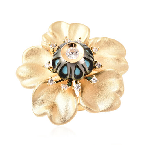 Galatea Pearl - Tahiti Pearl and Natural Cambodian Zircon Flower Design Carved Ring in Yellow Gold O