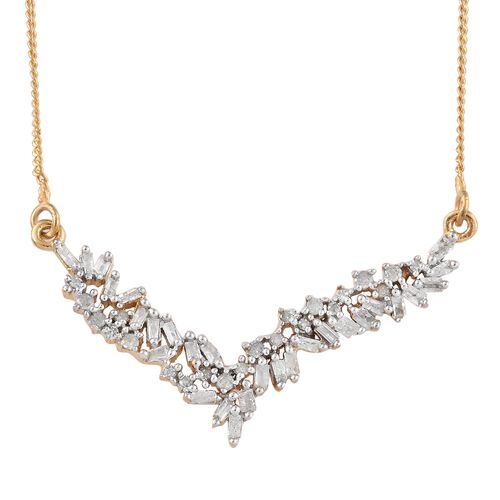 Diamond 14K Gold Overlay 14K Gold Overlay Sterling Silver Necklace (Size 18 with 2 inch Extender)  0.330  Ct.