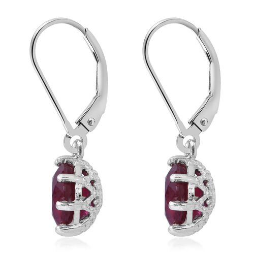 African Ruby (Rnd) Lever Back Earrings in Rhodium Overlay Sterling Silver 5.560 Ct.