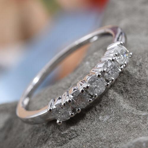 9K White Gold SGL Certified Diamond (Rnd) (I2-I3/G-H) Five Stone Ring 0.500 Ct.