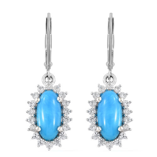 Arizona Sleeping Beauty Turquoise (Ovl), Natural White Cambodian Zircon Lever Back Earrings in Plati