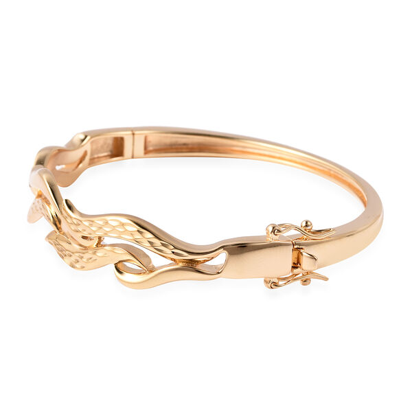 LucyQ Flame Collection - Yellow Gold Overlay Sterling Silver Diamond Cut Bangle (Size 7), Silver wt. 22.52 Gms